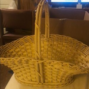 Vintage wooden & wicker basket